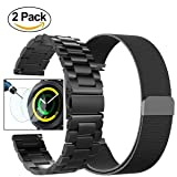 Valkit Gear Sport Band, Stainless Steel Watch Bands, Milanese Loop Mesh Replacement Bracelet Metal Strap, Tempered Glass Screen Protector for Samsung Gear Sport/S2 Classic Smart Watch, 2 Black - 20 mm