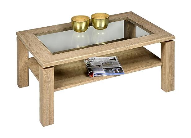 """'Alfa tavolo m2368""""Lugano Tavolino 110x 70cm klarglaseinlage, quercia Sonoma"""