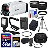 Canon Vixia HF R800 1080p HD Video Camera Camcorder (White) with 64GB Card + Battery & Charger + Case + Tripod + Stabilizer + LED + Mic + 2 Lens Kit (Color: White)