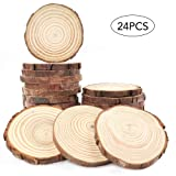 AGEOMET Natural Wood Slices 24pcs 3.5-4 Inches Craft Wood kit for DIY Handmade Arts Crafts Christmas Ornaments Wedding Decoration (Color: Natural, Tamaño: 1-24pcs(3.5