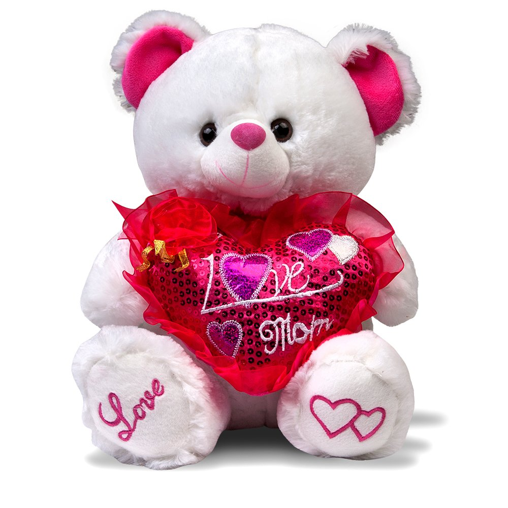 """Mother's Day Gift! Musical """"I Love Mom"""" Teddy Bear with Pink Heart (15″) Plays """"The Love Song"""" – Best Mother's Day Gift!"""