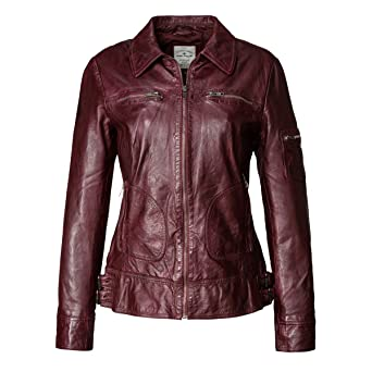 Tom Tailor Lederjacke, Damen Susann2 (black, bordeaux)