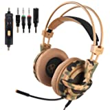 Xbox One PS4 Gaming Headset, 7.1 Surround Stereo Sound and Noise Cancelling Over Ear Headphones with Flexible Microphone, Lightweight Stylish Design for Laptop PC Smartphone Gamers (Color: Army Green)