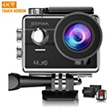 Jeemak 4K Action Camera Touch Screen WiFi Remote Control 98ft Underwater Waterproof Cam Sport Cameras with Mounting Accessories Kits (Color: Touch Screen)