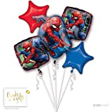 Andaz Press Balloon Bouquet Party Kit with Gold Cards & Gifts Sign, Spiderman Birthday Foil Mylar Balloon Decorations, 1-Set (Color: Spiderman)