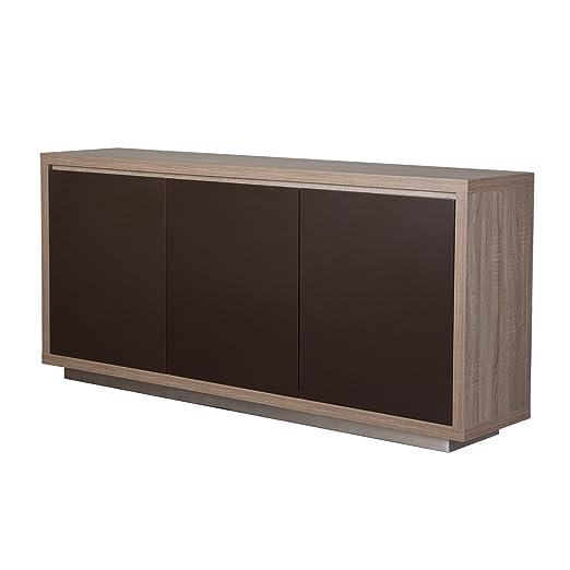 Diamond Sofa Studio 3-Door Buffet in Ash Grey w/ Contrasting Matte Brown Doors