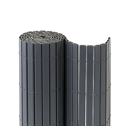 JAROLIFT Estera Premium de PVC para jardín, balcón y terraza 220 x 1000cm (2x 5m largo), color gris