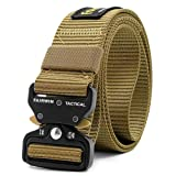 Fairwin Tactical Belt, Military Style Webbing Riggers Web Belt with Heavy-Duty Quick-Release Metal Buckle (30