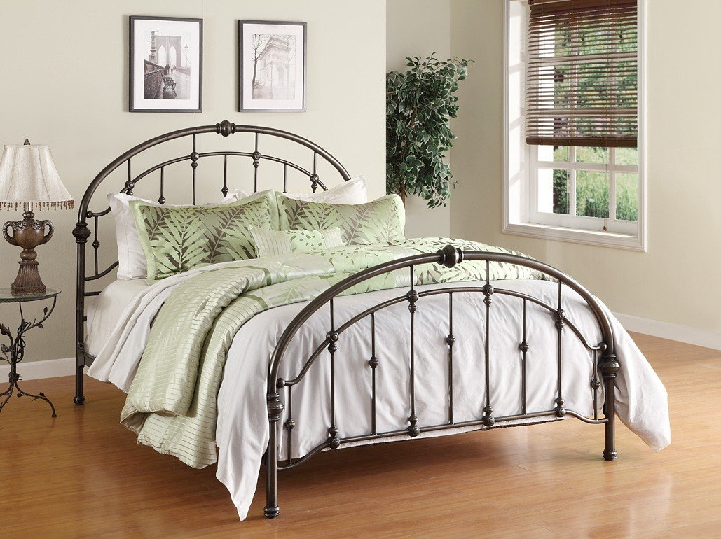 Dorel Living Queen Metal Bed, Antique Pewter 1