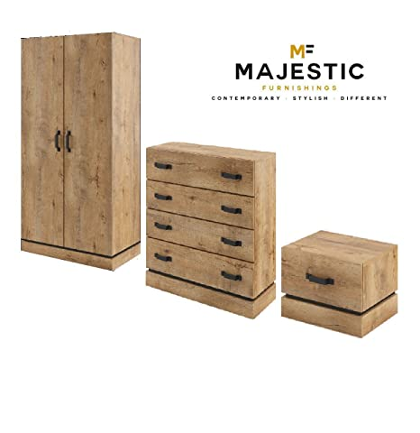 Kardamon rustic oak 3 piece bedroom set - bedside,chest, wardrobe