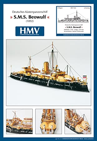 Modèle d'un navire de défense côtière en carton S.M.S. - La légende de Beowulf (1892) + D60