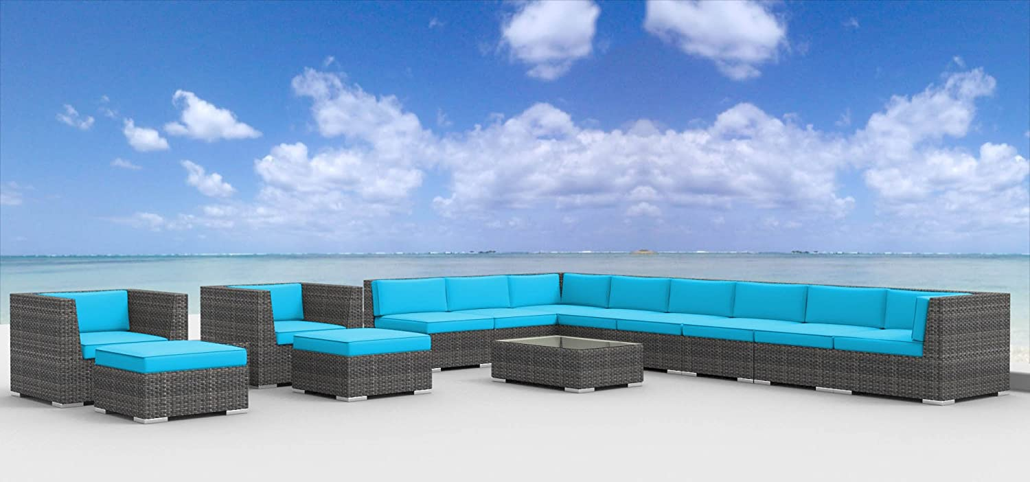 www.urbanfurnishing.net Urban Furnishing - NEWPORT 14pc Modern Outdoor Backyard Wicker Rattan Patio Furniture Sofa Sectional Couch Set - Sea Blue at Sears.com