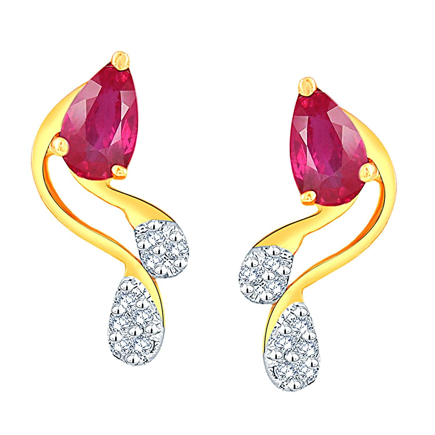 40% Off On Asmi Jewelry By Amazon | Gili 18k Yellow Gold and Diamond Stud Earrings @ Rs.10,680