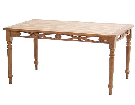 Ploß Ornamenttisch Cambridge 150 x 90 cm - Premium Teakholztisch mit FSC-Zertifikat - Terrassentisch aus fur 4-6 Personen geeignet - Holz-Gartentisch Braun mit geschlossener Tischplatte