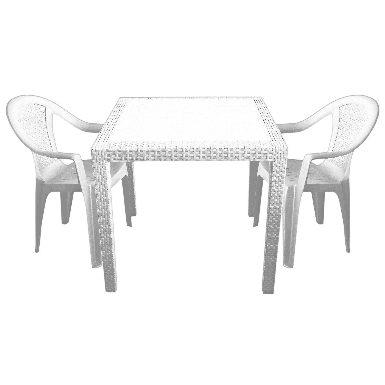 3tlg. Sitzgarnitur aus Vollkunststoff Gartentisch 79x79cm mit Rattan-Look + 2x Stapelstuhl Weiß Gartenmöbel Terrassenmöbel Balkonmöbel Set Gartengarnitur Sitzgruppe