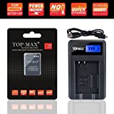 TOP-MAX USB Charger+EN-EL12,ENEL12 Battery for Nikon KeyMission 170, 360, Coolpix W300, A900, AW100, AW110, AW120, AW130, S8100, S8200, S9050, S9200, S9300, S9400, S9500, S9700, S9900,P310, P330,P340