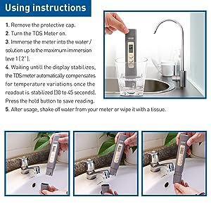 HiKiNS TDS Meter Digital Drinking Water Quality Tester & Temperature Meter Smart Portable Cute 0~9990ppm Testing Range for Aquariums etc (Color: Black, Tamaño: TDS meter)