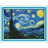 Benway Counted Cross Stitch Van Gogh Painting Starry Night 14 Count 18.5''x14.57'' (Color: Blue)