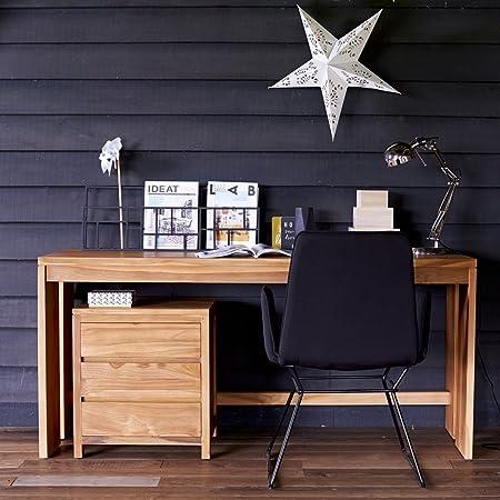 Escritorio teca madera maciza natural salón comedor despacho diseño moderno