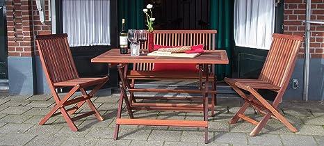 Bistro Gartenmöbel Set ( Tisch 120 x 80 + 2 Stuhle und Gartenbank. Breite 100 cm), aus exklusiven Mahagoni Hartholz, klappbar
