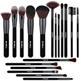 BS-MALL Makeup Brushes Premium 18 Pcs Synthetic Foundation Powder Concealers Eye Shadows Silver Black Makeup Brush Sets(Grey Black)