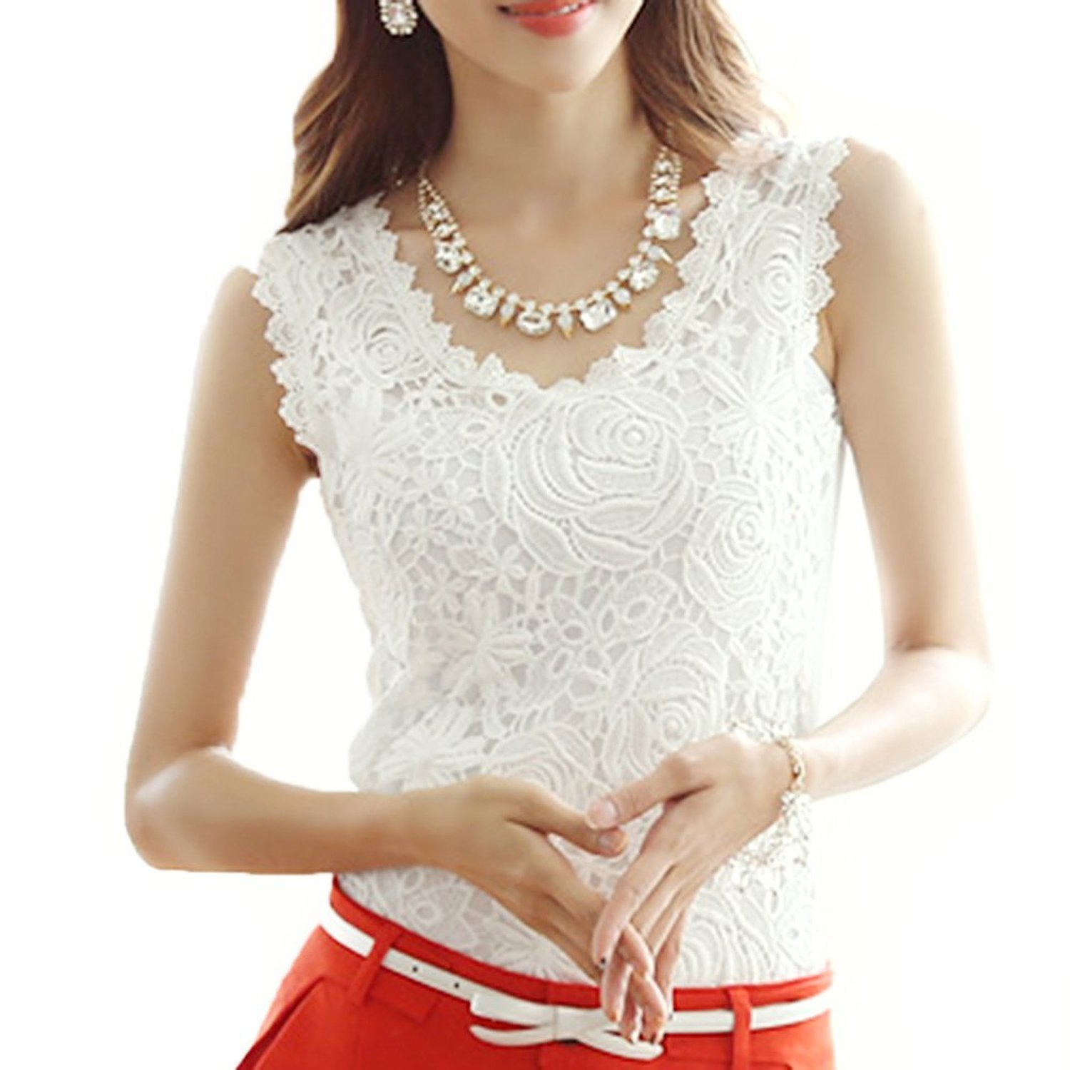 Amoin Women Lace Floral Crochet Knit Vest Tank Top Shirt