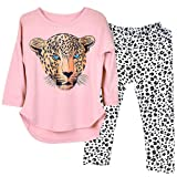 Kidlove Leopard Head Print T-shirt Skinny Legging Pants Girls Clothing Set Outfit Girls Clothes Pajamas 5-6 Years Old, Pink (Color: Pink, Tamaño: 5-6 Years)