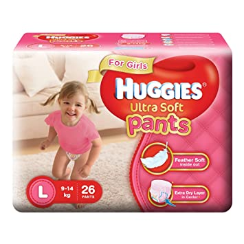 Image result for Huggies Ultra Soft Pants Large Size Premium Diapers for Girls (White, 26 Counts)