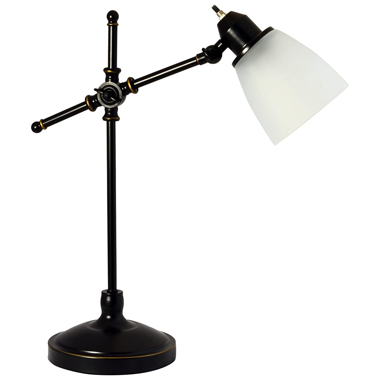 Light Accents Antique Style Desk Lamp with Black with Gold Trim and Frosted White Glass Shade Desk Light 4