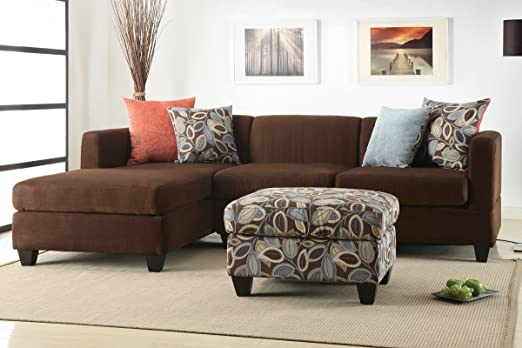 Poundex F7182 Chocolate Microfiber Sectional Sofa