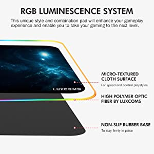 LED RGB Gaming Mouse Pad - 10 Light Modes Extended Computer Keyboard Mat with Durable Stitched Edges and Non-Slip Rubber Base, High-Performance Large Mouse Pad Optimized for Gamer 31.5X11.8X0.15Inch (Color: Blue, Tamaño: L-RGB-P2)