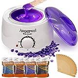 Auperwel Wax Warmer Waxing Kit - Hair Removal Bikini Waxing Kit Brazilian at home Wax Kit for women with 4 Hard Wax Beans 20 Waxing Spatulas (Hard Wax Kit) (Color: Hard Wax Kit, Tamaño: waxing kit)