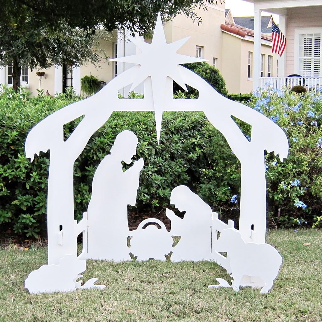 outdoor wooden nativity scene