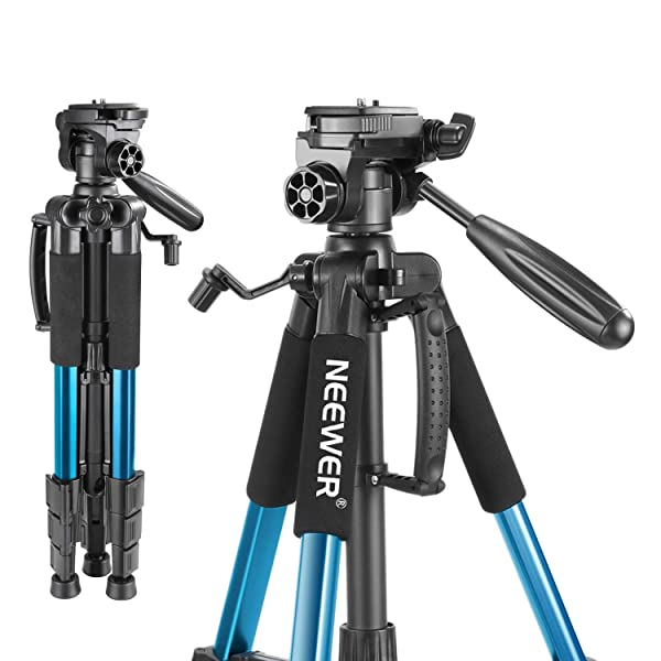 Neewer Portable 56 inches/142 Centimeters Aluminum Camera Tripod with 3-Way Swivel Pan Head,Bag for DSLR Camera,DV Video Camcorder Load up to 8.8 pounds/4 kilograms Blue(SAB234) (Color: Blue)