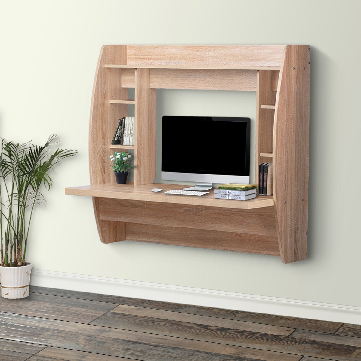 DEVAISE Wall Mounted Floating Computer Desk with Storage / Oak