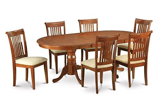 East West Furniture PLPO7-SBR-C 7-Piece Formal Dining Table Set
