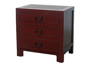 Mesilla de noche chino muebles pequeño cajón mesita de noche rojo con tres cajones y trenzado de bambú Oriental Asia muebles salón o dormitorio decoración interior armarios nightstands