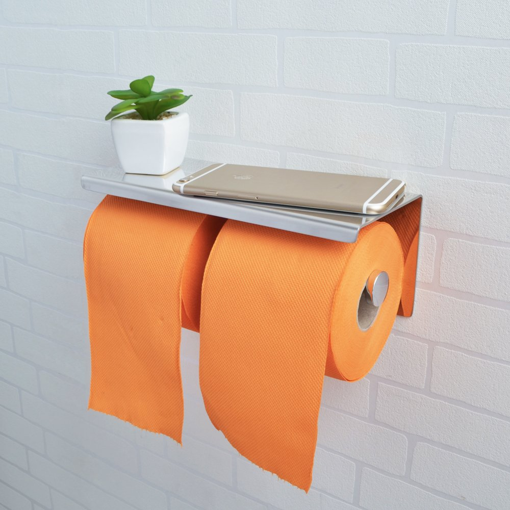 Kes Sus 304 Stainless Steel Double Roll Toilet Paper Holder Storage Bathroom Kitchen Dual Paper