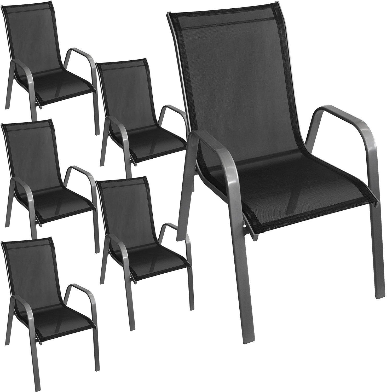 6 Stück Stapelstuhl Gartenstuhl Stapelsessel Gartensessel stapelbar Stahlgestell pulverbeschichtet mit Textilenbespannung Gartenmöbel Balkonmöbel Terrassenmöbel Silber / Schwarz günstig online kaufen