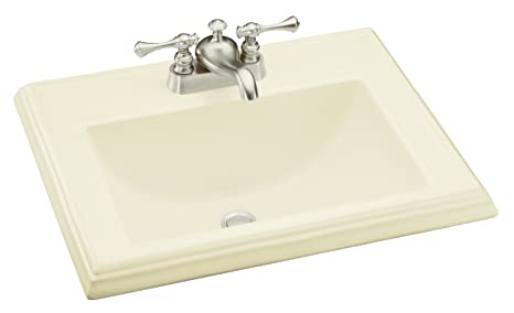 KOHLER K-2241-4-96 Memoirs Self-Rimming Bathroom Sink, Biscuit