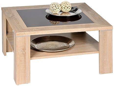 Alfa-Tische M2377 - Tavolino Santos con finiture in legno di rovere Sonoma, inserto in vetro fumé marrone, 78 x 78 cm