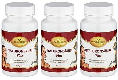 SPAR-PACK - 3x HYALURONSÄURE 150 mg (TD) fermentiert inkl. Granatapfelkern 750 mg - 300 Kapseln (11,70€/Dose) - made in Germany - Gelenke - Haut - Anti-Aging - höchste pharmazeutische Qualität von VITACONCEPT