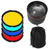 Fotga 10x Focus Bowens Mount Lens Studio Light Condenser Mount Adjustable + 4 Colorful Filters for Flash LED Light Photo Studio Photography (Color: Yellow)