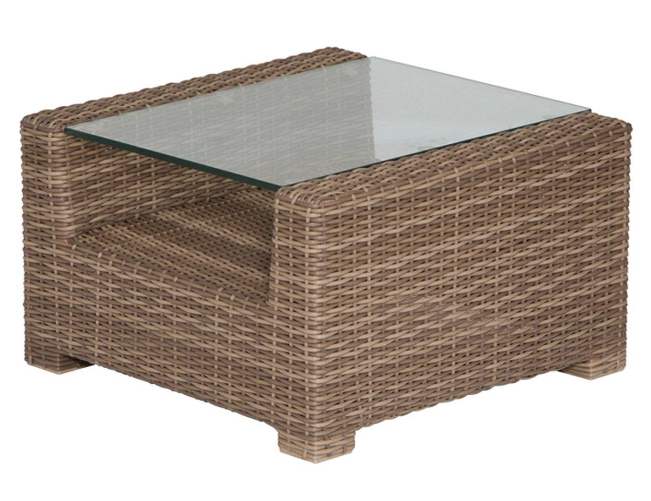 Siena Garden 672822 Beistelltisch Oviedo, bi color natur Glasplatte klar, mit Ablage, L 60 x B 60 x H 36 cm bestellen