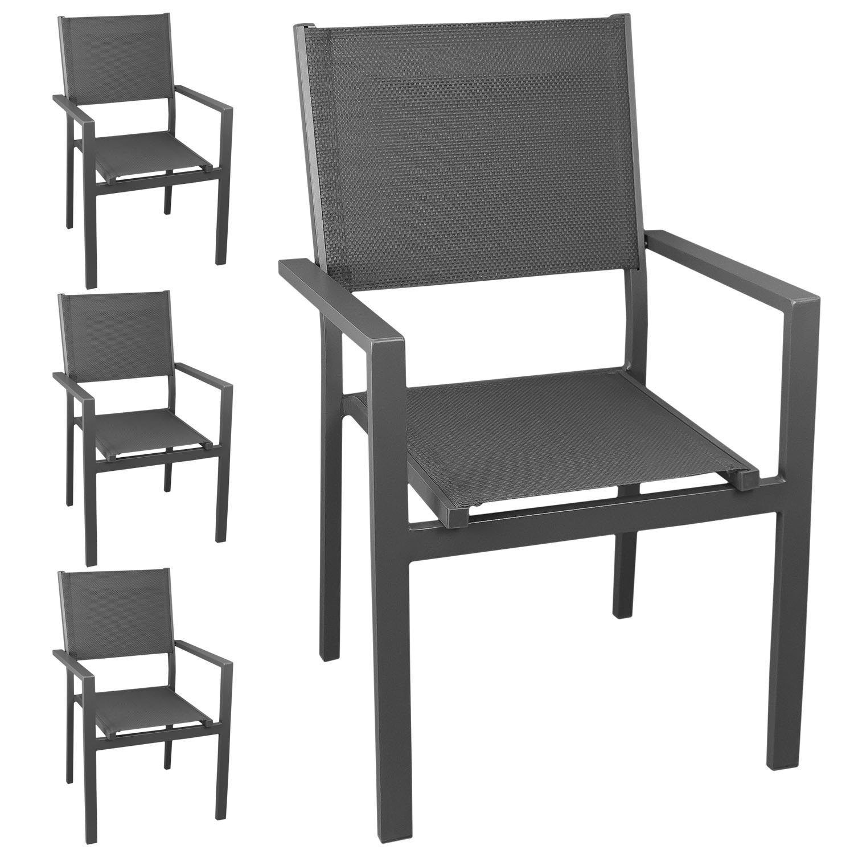 4 Stück Aluminium Stapelstuhl Gartenstuhl mit hochwertiger 4x4 Textilenbespannung, stapelbar, grau/grau - Gartensessel Bistrostuhl Stapelsessel Balkonmöbel Gartenmöbel Terrassenmöbel Sitzmöbel Gartenstühle