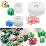 3 Pack Succulent Resin Molds, LET'S Resin Cactus Epoxy Resin Silicone Molds, Flower Resin Casting Molds for Handmade Candle, Resin Crafts DIY (Color: Succulent Mold)