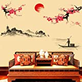 Hatop Creative Classical Chinese Style Ink Painting Decorative Wall Stickers Peach