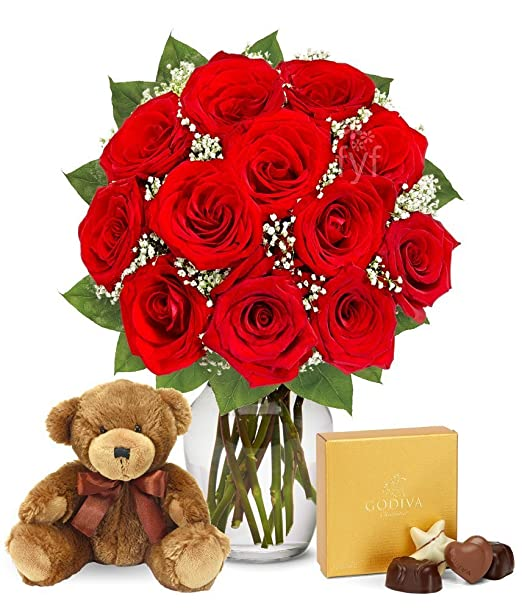 From You Flowers | One Dozen Red Roses | Godiva Chocolates & Teddy Bear