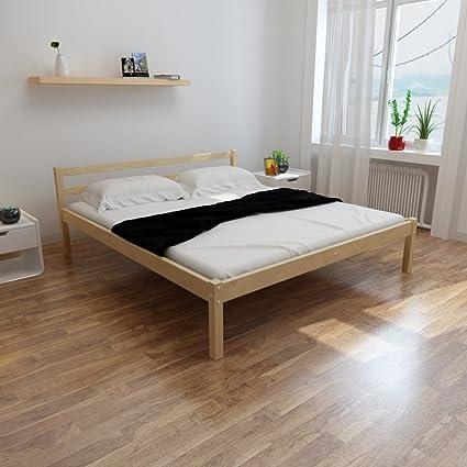 Letto in legno di pino 200 x 180 cm con materasso