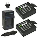 Wasabi Power Battery (2-Pack) and Charger for SJCAM M10, SJ4000, SJ5000 and more (Tamaño: Charger + 2 Batteries)